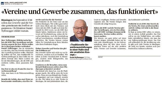 Interview mit OK-Präsident Daniel Nyffenegger in der Basellandschaftlichen Zeitung vom 19. November 2016